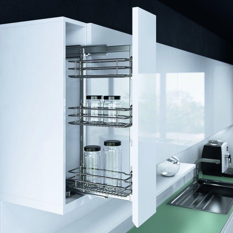 Обзор выдвижных систем для верхних секций кухни